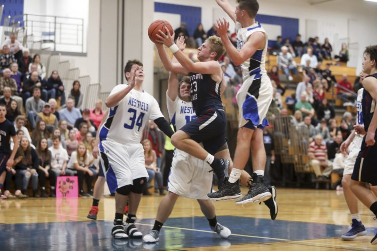 OBSERVER File Photo In this photo, Chautauqua Lake's Devin Pope (23) goes up for a hard layup during a regular-season high school basketball game. Pope scored 52 Tuesday night against Panama.