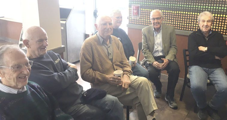 """OBSERVER Photo From left at the gathering were Keith Sheldon, Wally Latimer, Dr. Anthony """"Slim"""" Leone, Bill Roberts, Sam Drayo and Joseph Muscato."""