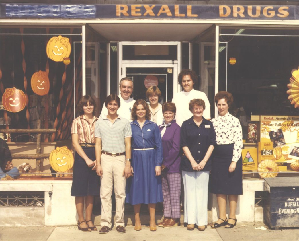 Photo courtesy of the Gowanda Area Historical Society: Pictured are employees of Gowanda Pharmacy in 1980 after Kenneth Nimon purchased the business from Norman Hogle. From left, front, are Bernie Spengler, Brian Sweet, Christine Fuller, Annajean Martin, Jane Kota and Karen Strickland.  Back row: Mr. Nimon, Debbie Chryst and Kevin Hinkley.