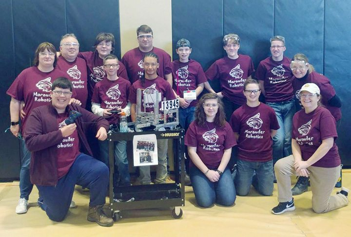 Submitted Photo: Pictured is the Marauders Robotics FTC No. 13945 team which was a first-time competitor in the  Excelsior NY Region FIRST Tech Challenge (FTC) Corning Qualifying Tournament on Jan. 7. In the front row from left are: Michael Mitchell, Joe Gifford, Carlos Rosario, Bella Donisi, Steven Zentz and Mrs. Marybeth Muldowney (Team Administrator). Back Row: Amanda Cooley (Team Coordinator), Roger Cooley Jr. (Team Coach), Alex Cooley, Daniel Muldowney, Tyler Jacques, Jimmy Beehler, Jay Gifford and Mrs. Cynthia McMillen (Team Coach/Advisor). Missing is Abbey Zentz (Mentor).