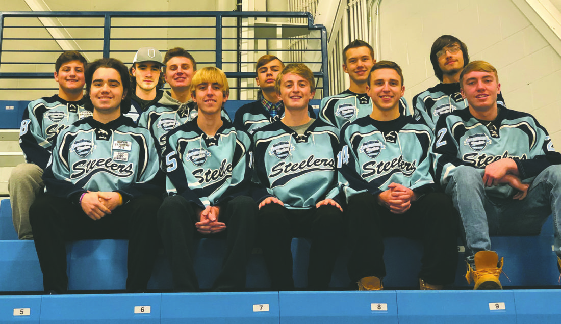 Submitted Photo Eleven members of the Dunkirk-Fredonia Steelers will be playing in their final regular-season home game this afternoon at Steele Hall. The members include, from left, in front: Carter D'Agostino, Austin Venn, Alex Venn, Stephen Aldrich and Zachary Rybak. In back are Nick Pchelka, Jackson Taylor, Nolan Mages, Tyler Sack, Jarrett Parks and Brandon Prentiss. Today's game against Roy-Hart begins at 4:45 p.m. with the senior ceremony set to begin after 4:15 p.m.