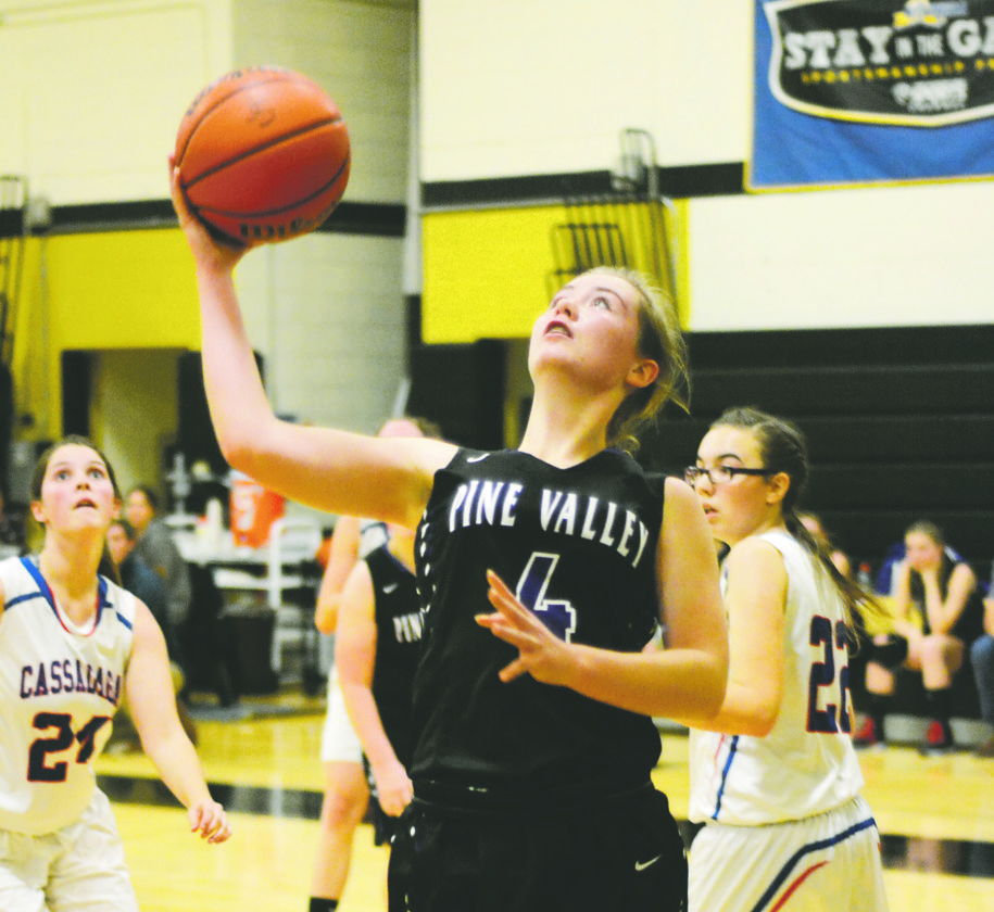 OBSERVERFile Photo Pine Valley's Kayla Hohl grabs a rebound back in December against Cassadaga Valley. Hohl scored 20 points on consecutive days this week to lead her team to two victories over North Collins.