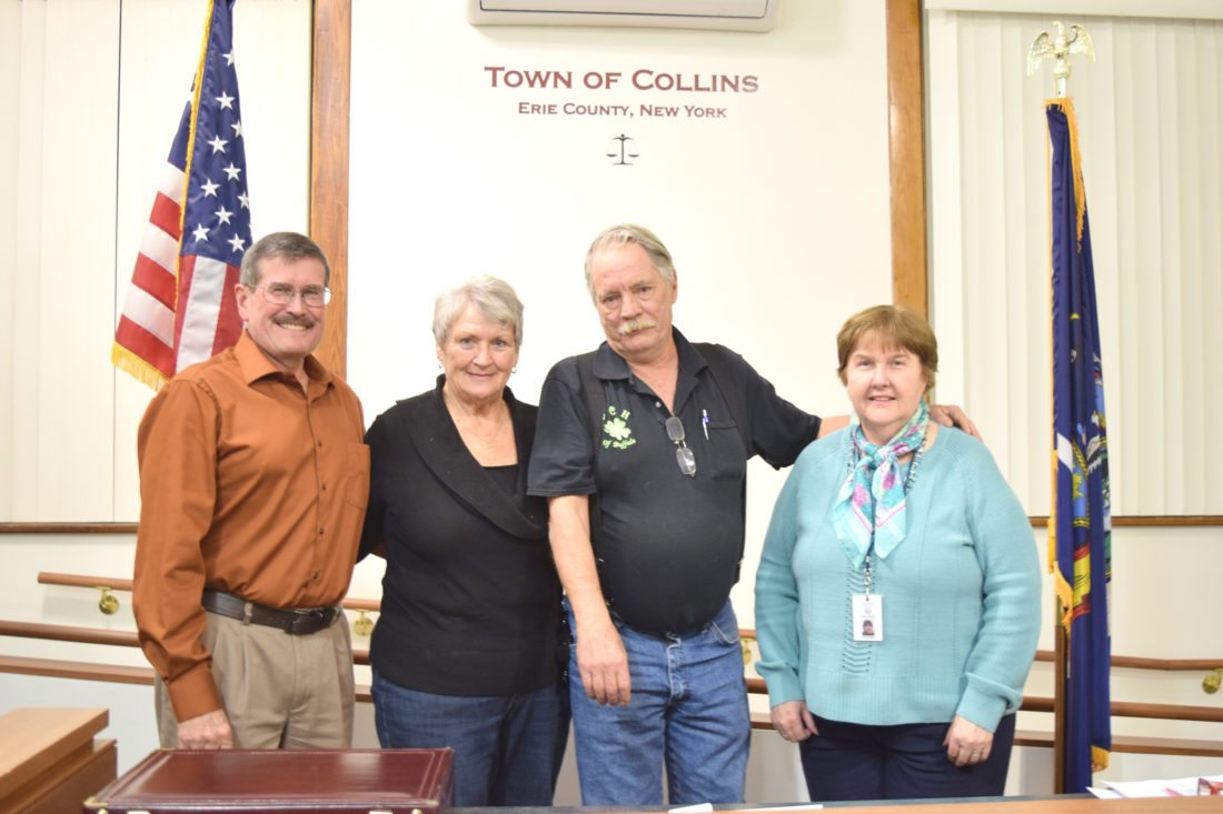 OBSERVER Photo by Andrew David Kuczkowski Pictured is the Collins Town Board for 2018. From left, supervisor Ken Martin, councilwoman Jane Sion, councilman Jim Hotnich and deputy supervisor and councilwoman Mary Stelley.