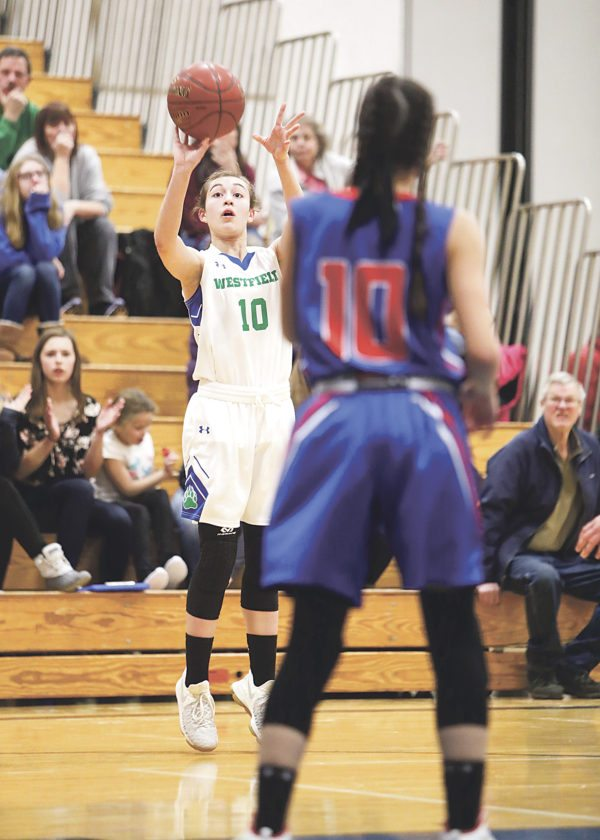 Westfield's Mary Conklin takes the jumper outside the arc against ,Bella Ruiz of Cassadaga Valley.