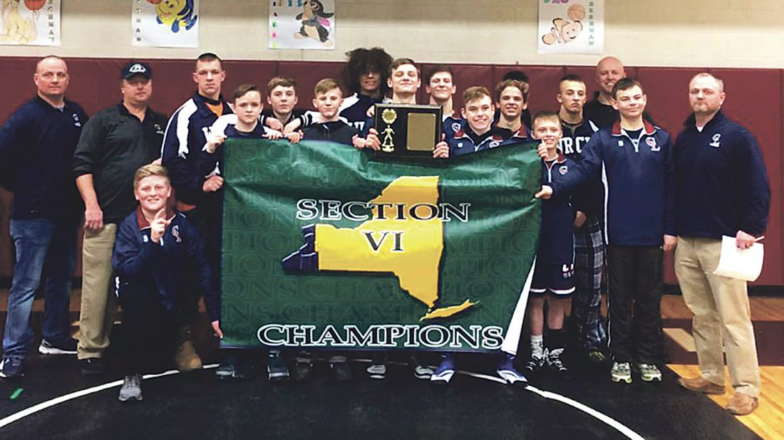 Submitted Photo Pictured above are the 2017-18 Chautauqua Lake boys wrestling team. The Thunderbirds totaled 227 points to take first place at the Sectional meet Saturday, in Portville.