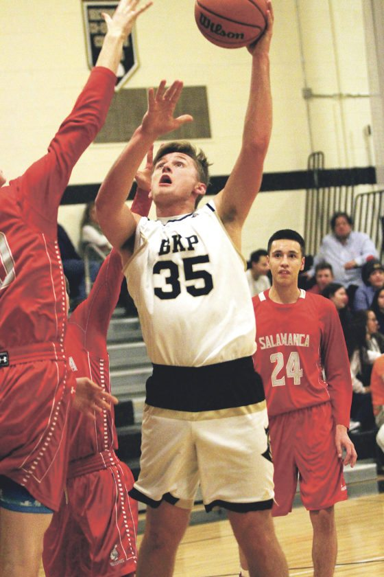 OBSERVER Photo by Lisa Monacelli At right, Silver Creek's Braeden Woleben puts up the baby hook shot during the Black Knights' 94-49 win over Salamanca.