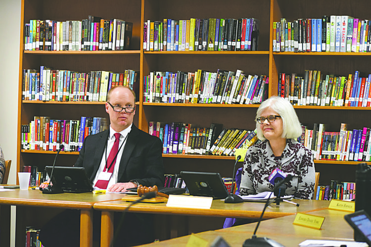 OBSERVER Photo by Andrew David Kuczkowski The Gowanda Board of Education accepted the resignation of now-former Superintendent James Klubek on Wednesday. The board stated he left due to personal matters. Pictured is interim superintendent and former high school principal Dr. Robert Anderson, left, and school board president Cynthia Sutherland.