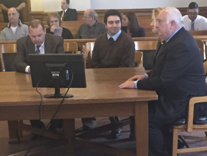 OBSERVER Photo by Jimmy McCarthy Justin Haffa reacts to the jury's verdict inside the Chautauqua County Courtroom on Wednesday.