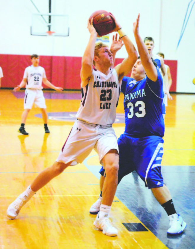 OBSERVER File Photo Devin Pope of Chautauqua Lake (23), here going strong to the hoop during a game earlier this season, will play his college basketball at SUNY Geneseo.
