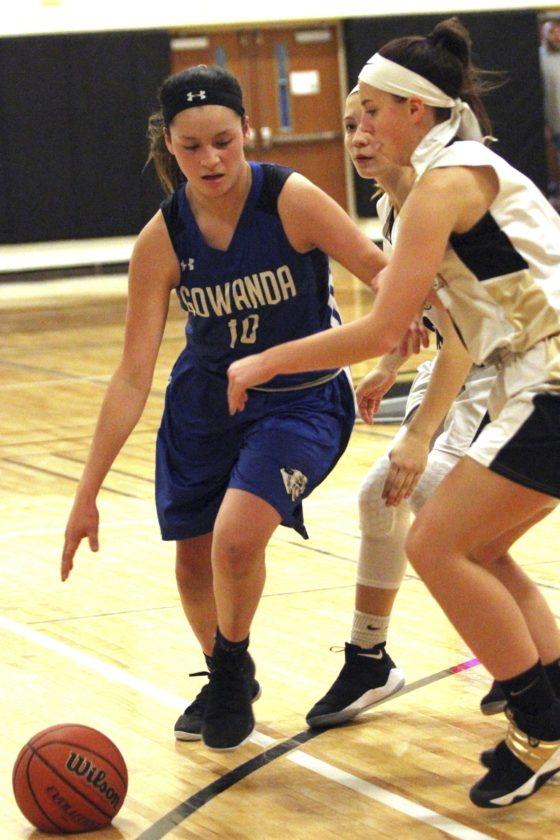 OBSERVER Photo by Lisa Monacelli Gowanda's Miya Scanlan dribbles against Silver Creek's Emma Rice (right) Thursday night during a high school basketball game in Silver Creek.