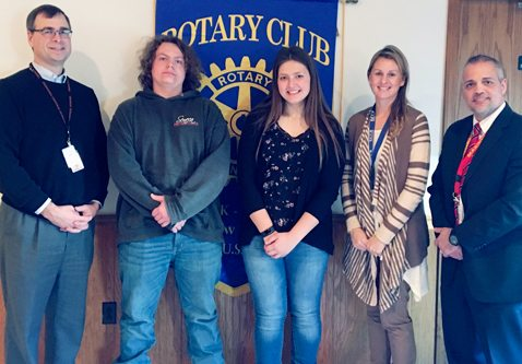 Submitted Photo In January, the Dunkirk-Fredonia Rotary Club honored two students of the month from BOCES. From left is Joe Reyda, Rotary Club past president; Benjamin Yocum from P-Tech; Michaela Manos from BOCES; Alycia Lacki and Joe Pagan. The Dunkirk-Fredonia Rotary Club meets weekly on Thursdays at the Fredonia Beaver Club at noon.