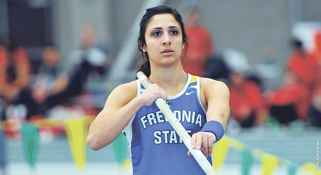 Photo courtesy of SUNY Fredonia Blue Devils' pole vaulter Mikayla Capestrani mentally prepares during a meet.