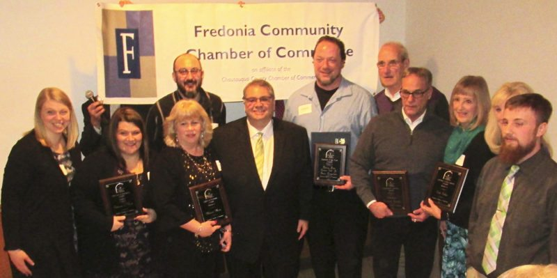 Pictured are the award winners from the Fredonia Community Chamber of Commerce Annual Awards Banquet last week. The lifetime achievement award went to Dick Golden, and Domus Fare owners with chefs Dennis Colt Jr. and Isaac Borgstrom receiving the Business Persons of the Year. Melanie Mann received the Spirit of Fredonia award. Partners in Kind, led by founder Melissa Pietrkiewicz, was awarded the Service to Humanity award. The Community Service Award went to Lakeshore Humane Society and the Retailer of the Year award went to Greg Giambone and Concord Pharmacy.