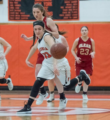 OBSERVER Photos by Ron Szot Hannah Gullo (33) breaks up a pass intended for Marina Miketish (31) during Monday night girls basketball at Fredonia High School. Below, Fredonia's seniors pose for a photo.