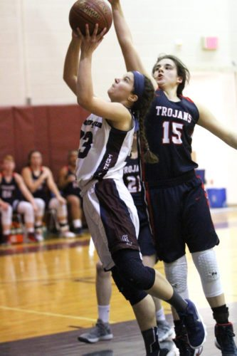 OBSERVER Photo by Lisa Monacelli Lily Woodis of Chautauqua Lake looks to score while defended by Sophia Genarro of Southwestern.
