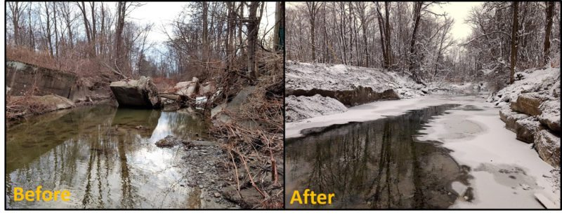 Submitted Photo The Chautauqua County Soil & Water Conservation District partnered with the County Legislature and a Bemus Point landowner to fix a failed bridge abutment that was broken down and reused onsite for bank stabilization