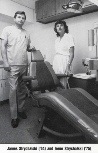"Submitted Photo by Mark Lewis Above: Dr. James Strychalski and Dr. Irene Strychalski featured in the ""University of Buffalo Dental Report, Fall-Winter Edition, 1989-90."""