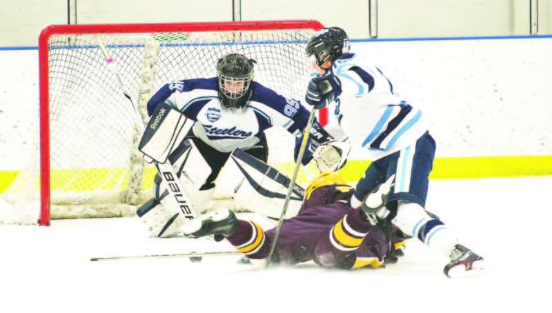 OBSERVER File Photo Dunkirk-Fredonia Steelers goalie Gabe Persch (99) looks on as teammate Austin Venn (15) finishes a check during a game earlier this season. Persch will be the Steelers' starting goalie today as they open the playoffs in Lockport against Royalton-Hartland.