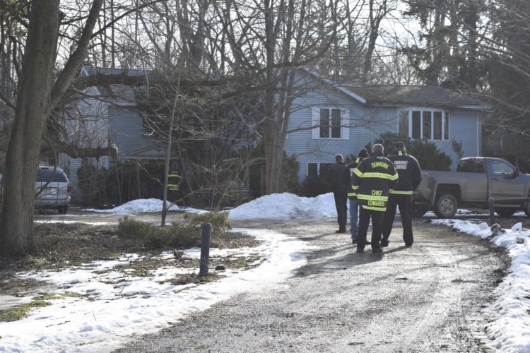 OBSERVER Photo by Andrew Kuczkowski Dunkirk firefighters respond to a small fire on Crooked Brook Drive.
