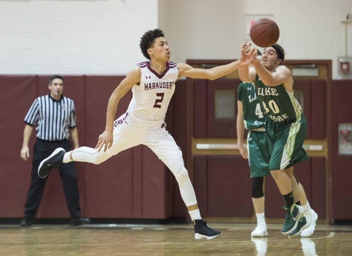 OBSERVER File Photo Dunkirk's Devaun Farnham (2) goes for the steal during a game against Lake Shore earlier this season. Farnham's Senior Night triple-double is the OBSERVER's Top Male Performance for the week of Feb. 11-17.