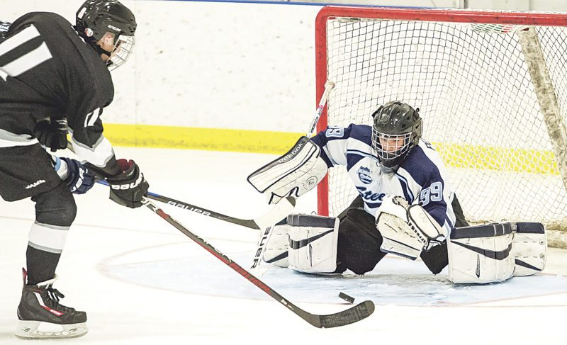OBSERVER Photo by Ron Szot In this photo, Gabriel Persch makes the save at point-blank range during a boys playoff hockey game against Roy-Hart. The Steelers lost, 4-3, in overtime.