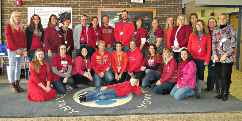 Photo courtesy of Gowanda Central School District As February is Heart Healthy Month, Gowanda Elementary School students were invited to join the faculty and staff in celebrating American Heart Month and National Wear Red Day with a week of GO RED activities (Jan. 29 – Feb. 2). Students learned how to prevent heart disease, learned facts about the heart and ways to enjoy a healthier lifestyle. We discussed the importance of nutrition, exercise, proper rest and its many benefits. In addition to our fitness focus this month, we will do our cooperative games and dance units. February is a short yet productive month, and we encourage you to ask your children what they are learning in Physical Education class and encourage them to participate in physical activities outside of school. Friday, February 2nd was Wear Red Day where staff wore red and raised $250 in its annual fundraiser for the American Heart Association.