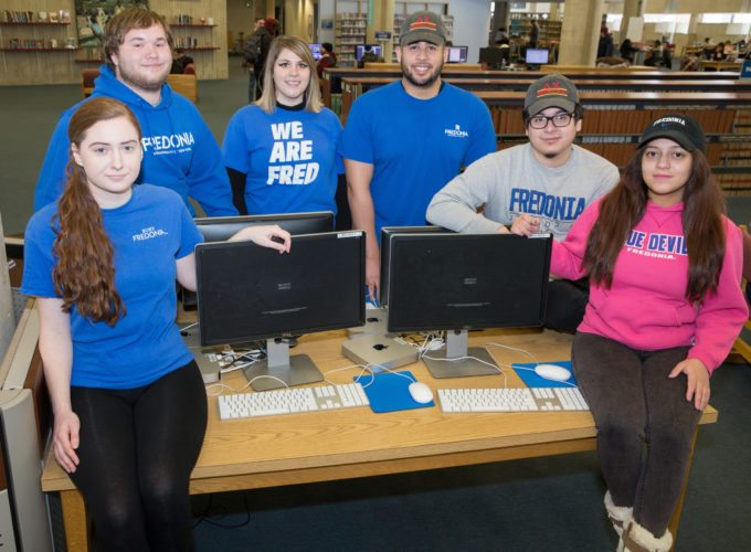 Submitted Photo Fredonia's Excelsior Scholarship focus group members included (from left): Cassie Kaminski, Cody Beckwith, Samantha Taddio, Edward Santos, Javier Mendoza and Chabely Rodriguez. (Missing from the photo: Wascar Almonte, Celina Kryk and Kyra Delano.)