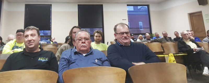 OBSERVER Photo by Nicole Gugino Local union members attended Tuesday's Common Council meeting to show their support for the responsible bidder law.