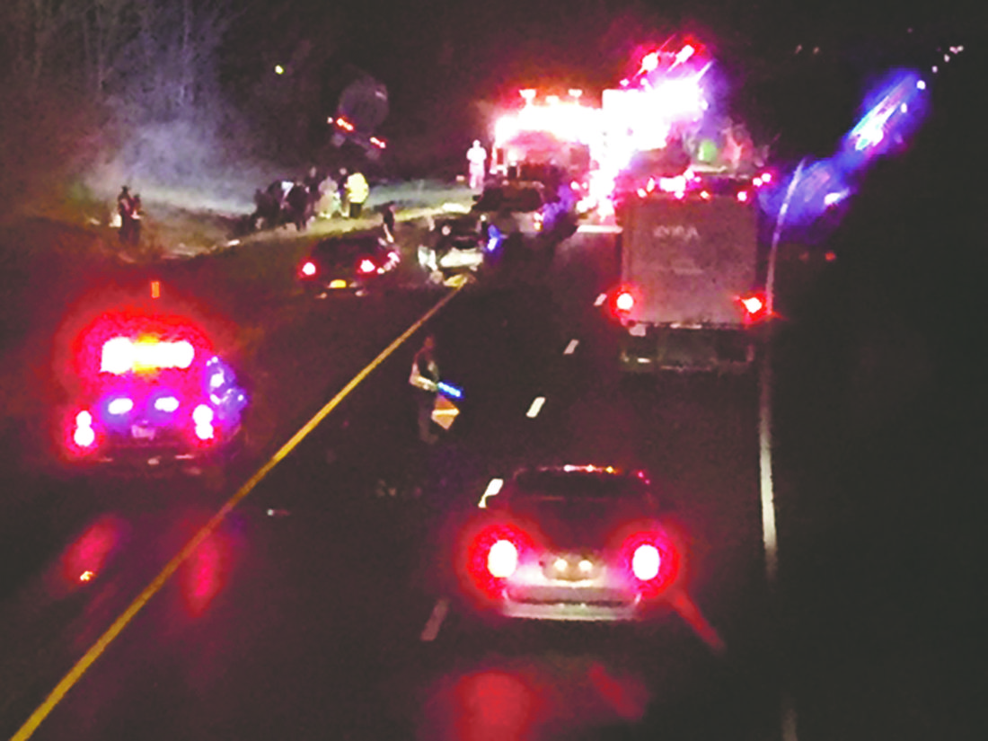 OBSERVER Photo by Jimmy McCarthy A three-vehicle accident on the I-90 eastbound Tuesday night led to one fatality and four injuries.