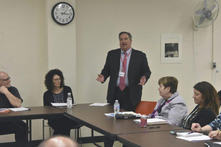 Photo by Jordan W. Patterson Chautauqua County Executive George Borrello speaks Wednesday during a meeting of the Community Justice Council.