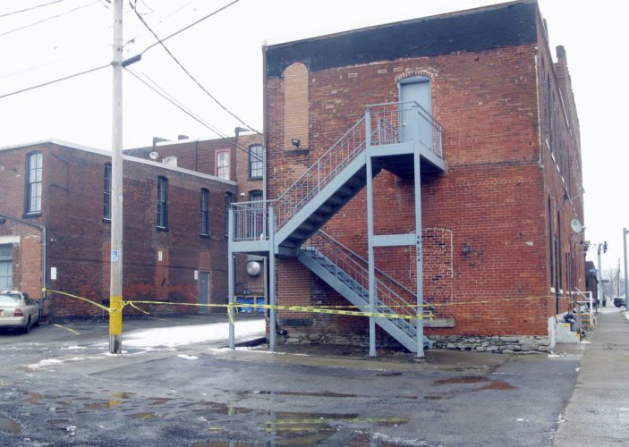 OBSERVER Photo by Gib Snyder The back section of the Coburn Block, owned by Chautauqua County Rural Ministry, off of East Second Street was cordoned off Wednesday.