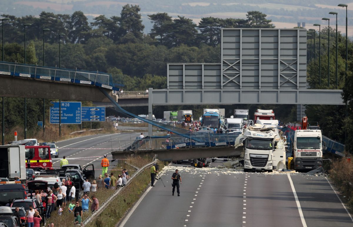 English highway closed for 2nd day over collapsed bridge