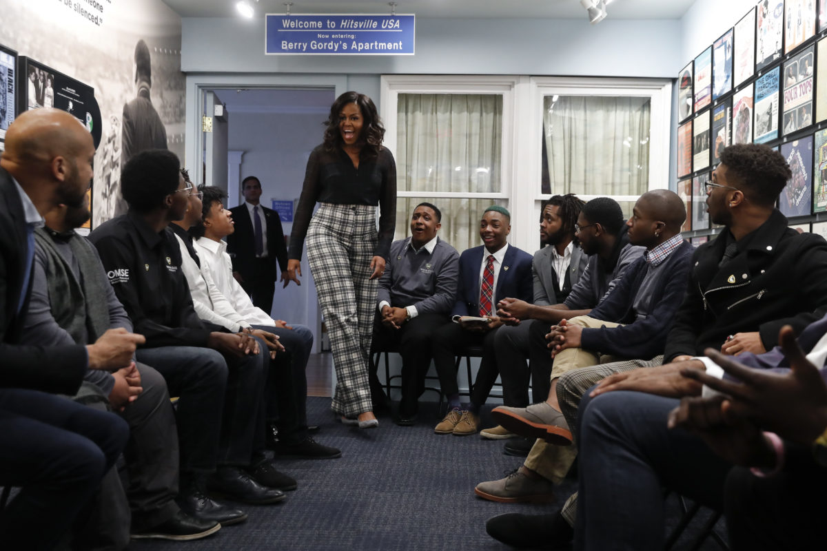 Michelle Obama surprises students at Motown Museum