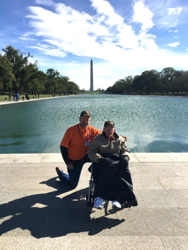 Todd Hanson, at left, and his father, George Hanson, recently took part in Honor Flight Rochester's Mission 51 honor flight in Rochester. An honor flight allows WWII, Korean War and Cold War veterans to fly to Washington D.C. to tour the monuments and stay in a hotel for free. The pair are pictured near the Korean War Veterans Memorial.  Submitted photo
