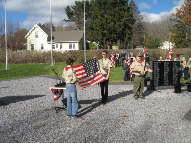 Residents and local officials gathered Friday at the newly-minted Veterans Memorial of North Harmony on North Maple Avenue.  P-J photo by A.J. Rao