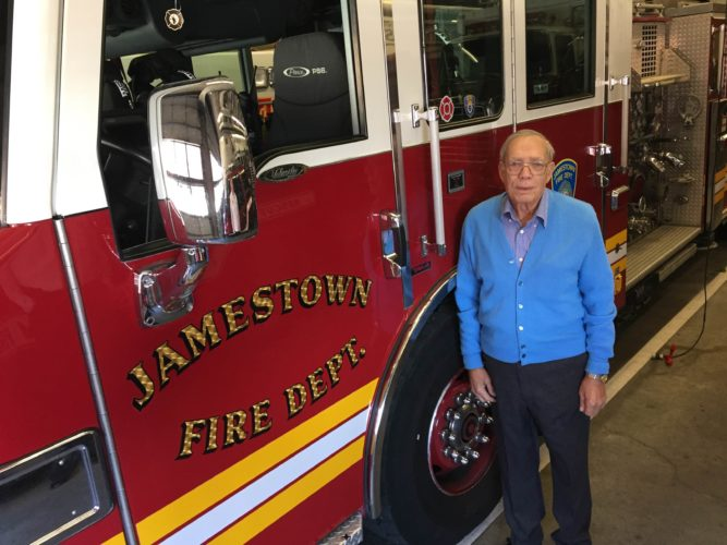 Frank Stefanelli was a member of the Jamestown Fire Department for two decades. He also served as a state fire instructor in Chautauqua County and deputy state fire administrator, an appointment he received from the governor's office in Albany.  P-J photo by Eric Tichy