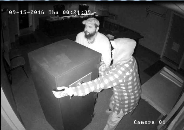 The Chautauqua County Sheriff's Office released surveillance photos Tuesday of the suspects involved in a Sept. 15 burglary of a safe in the Sherman Town Building. Town officials said the stolen documents are priceless and cannot be replaced.  Submitted photo