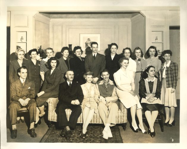 "Cast and crew of the May 1943 production of ""Yes, My Darling Daughter,"" presented by The Little Theater of Jamestown, Inc. Can you identify any one?"