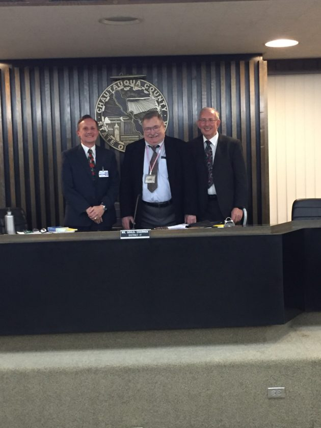 """Frank """"Jay"""" Gould, middle, was recognized last week by the Chautauqua County Legislature for his years serving as chairman. He plans to serve one last term as a legislator.  P-J photo by Jimmy McCarthy"""
