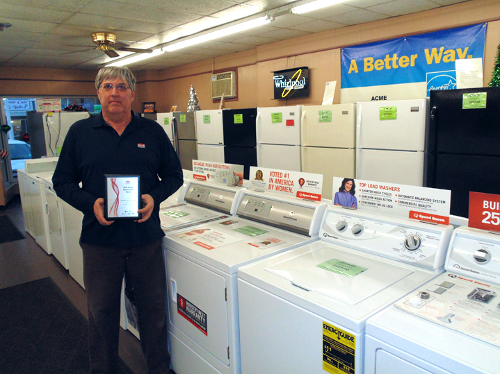 Acme The Appliance Store, located at 1286 E. Second St., Jamestown, recently received the Brand Source 2016 Dealer Appreciation Award for an increase in year-over-year sales. William Courson, general manager, is holding the award plaque.  P-J photo by Jimmy McCarthy