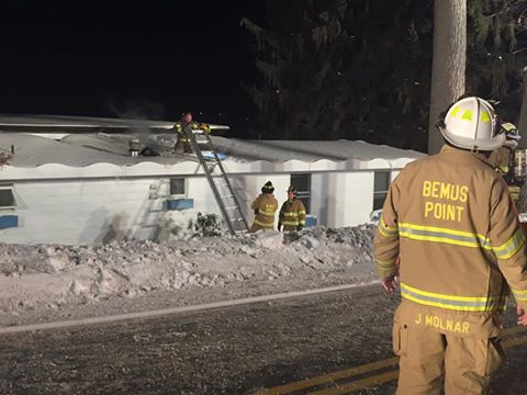 Firefighters responded Monday night to a structure fire in Bemus Point. The cause of the blaze was likely due to a furnace. P-J photo by Eric Tichy