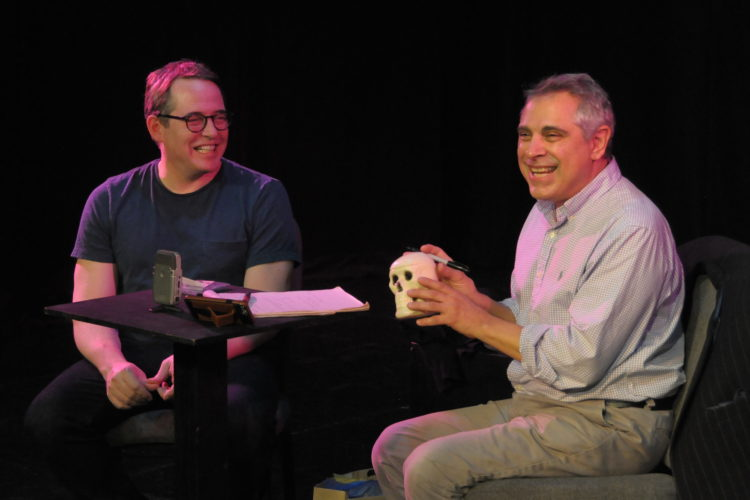 Ron Song Destro, a Jamestown native and director of the Oxford Shakespeare Company in New York City and London, right, is pictured with award-winning actor Matthew Broderick during one of the theater company's previous acting workshops. Submitted photo