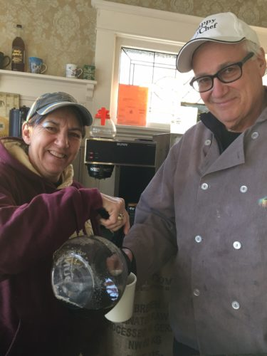 Patty Franco serves her husband, Tom, a cup of joe at Joe'Z Coffee House, which is located at 98 Forest Avenue in Jamestown.