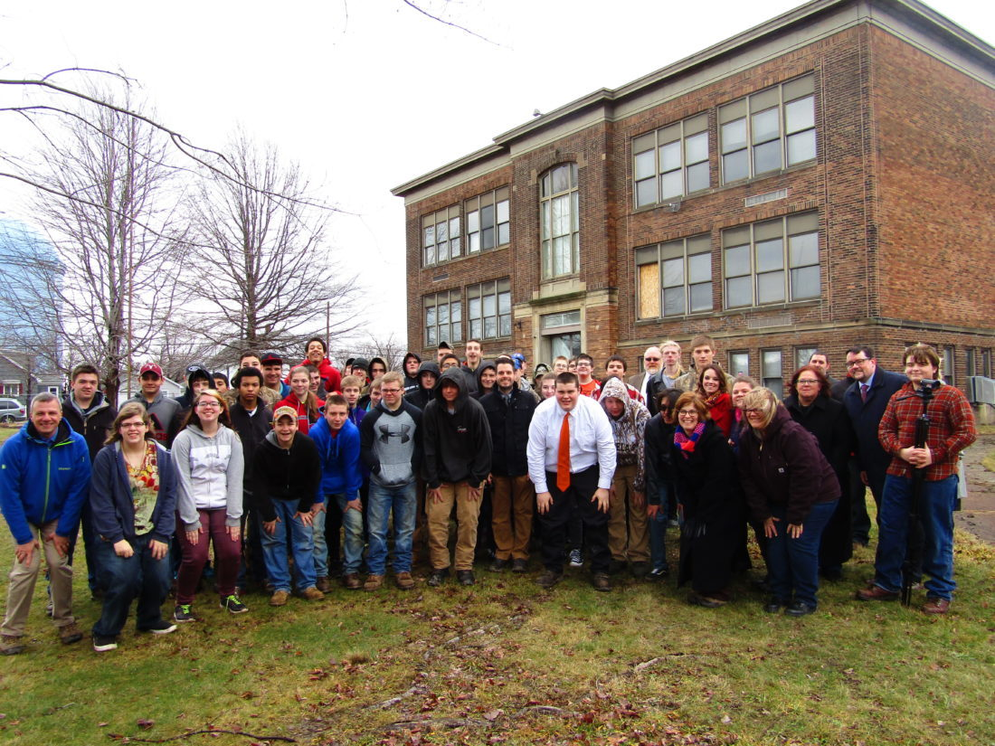 A groundbreaking ceremony for construction on the future P-TECH College and Career Academy took place Wednesday at the former Dunkirk School 6 building. Pictured are P-TECH students and elected leaders and officials involved with the P-TECH program. P-J photo by Greg Fox