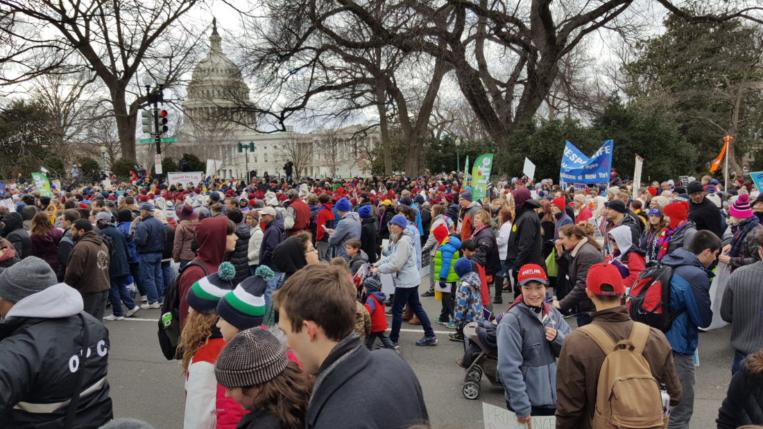 Swarms of marchers headed for the Supreme Court building during the 44th Annual March For Life in Washington, D.C., on Friday. The march is generally held on the anniversary of the Roe v. Wade decision in 1973, however, due to the Presidential Inauguration, the event was held a week later.  Submitted photo