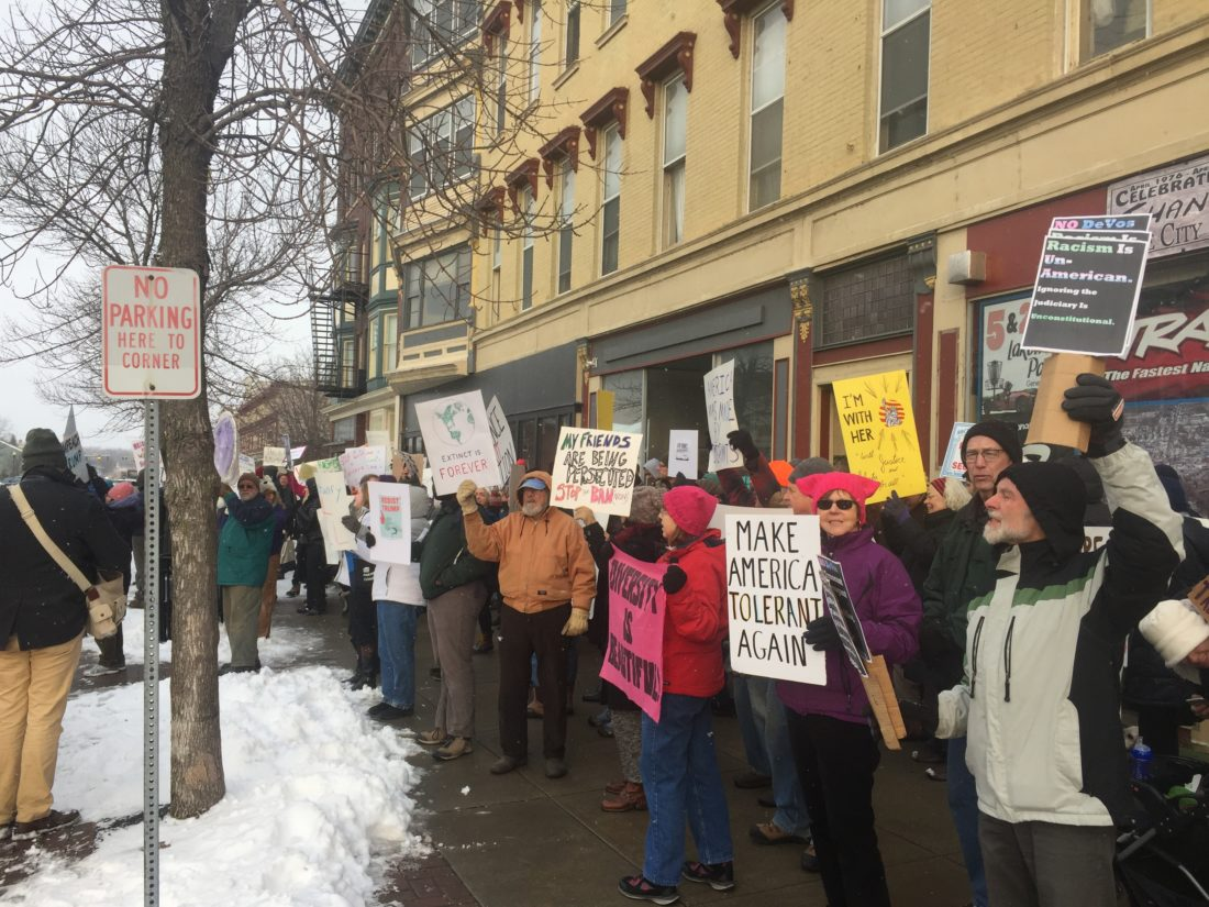 """Protesters gathered Tuesday outside Rep. Tom Reed's district office in Geneva. Organizers said they wished to protest peacefully as part of the national """"Resist Trump Tuesday"""" effort. Area college officials, meanwhile, said they are keeping an eye on developments. Submitted photo"""
