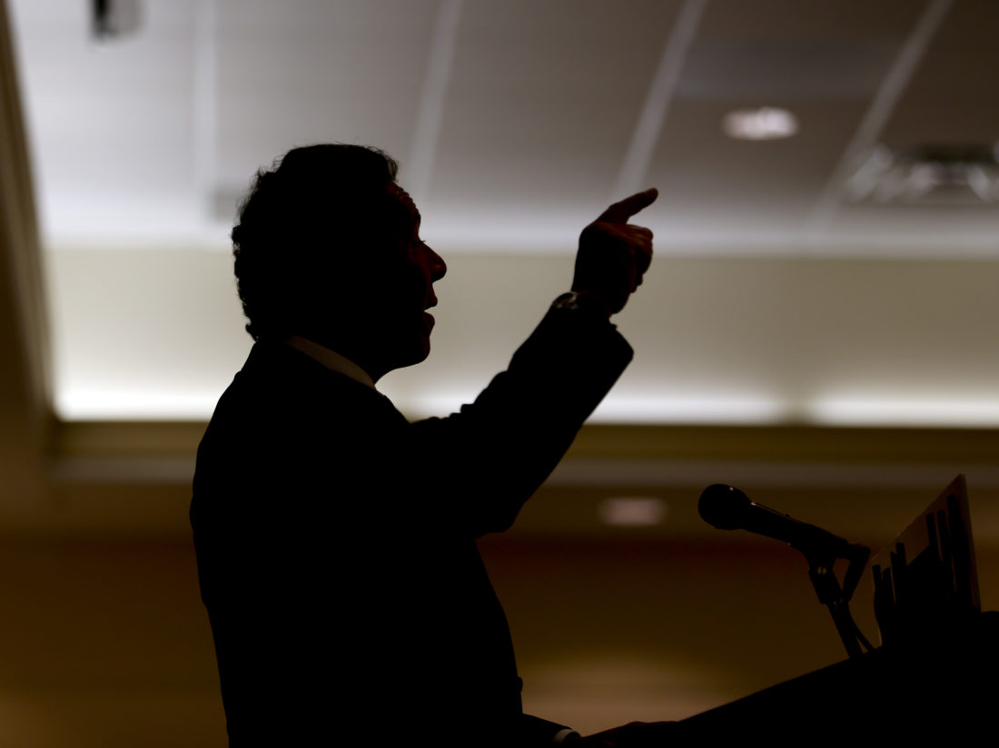 New York Gov. Andrew Cuomo speaks at the New York State Pipe Trades conference on Tuesday, July 28, 2015, in Lake George, N.Y. (AP Photo/Mike Groll)