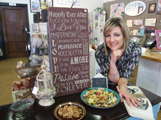 Homeschooling mom of five, Sarah Gabel, displays her tasty Apple Goodie and Southwestern Chicken Salad in her Gowanda shop. Photos by Beverly Kehe-Rowland