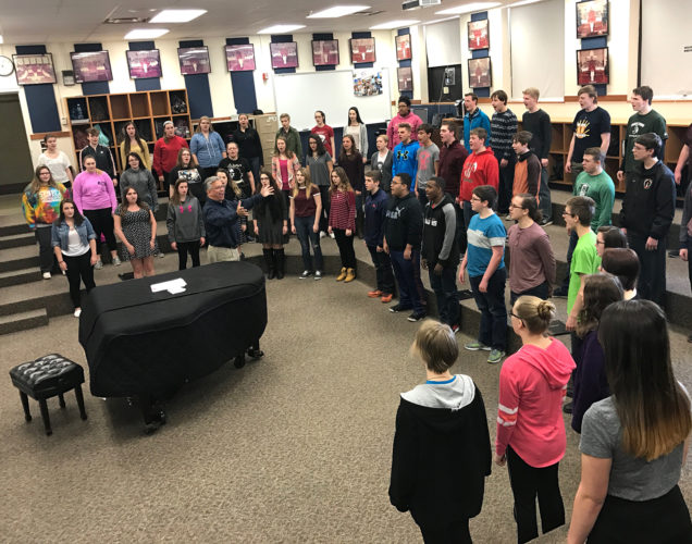 "Jamestown High School's A Cappella Choir sang  ""The Star Spangled Banner"" during a recent practice rehearsal.                 Submitted photo"