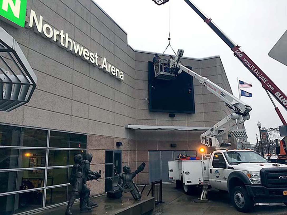 New digital sign being installed on the exterior of the Northwest Arena, located at 319 W. Third St. Submitted photo